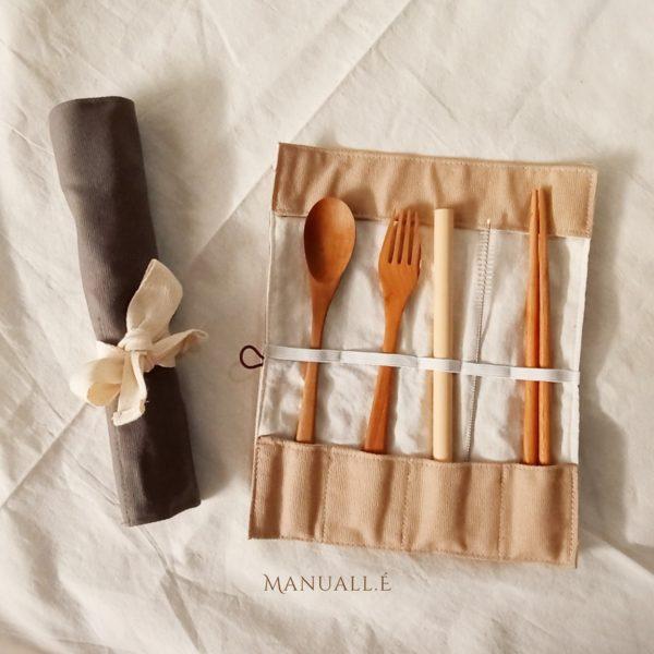 Cuttlery set premium canvas pouch roll